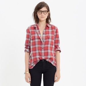 Madewell Ex-boyfriend Cherry Plaid Oversized Shirt